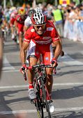 BARCELONA - AUG 26: Katusha Team cyclist spanish Joaquim Purito Rodriguez rides lider during the Vue