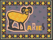 Stylized Zodiac backgrounds series. Aries sign with symbols on a background.