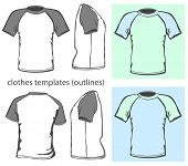 Vector. Men's t-shirt design template (front, back and side view). Raglan sleeve. outline