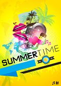 SummerTime Party Poster -  vector Illustration.