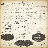 Vector set of calligraphic design elements: page decoration, Satisfaction Guarantee Label, calligrap