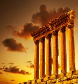 Column ruins over sunset, ancient lebanese building, Heliopolis Baalbek columns in Lebanon, arabian