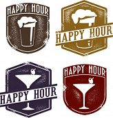 Vintage Style Happy Hour Beer & Cocktail Stamps