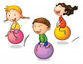 Illustration of three bouncing kids