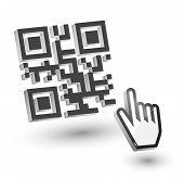 3D QR Code with hand arrow, vector