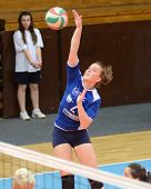 KAPOSVAR, HUNGARY - APRIL 22: Zsanett Pinter (blue 2) in action at the Hungarian I. League volleybal