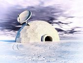 satellite dish and igloo  in winter landscape  (3d concept)