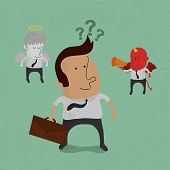 Businessman must choose between the devil or angel , eps10 vector format