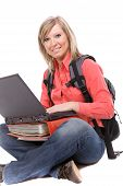 stock photo of bagpack  - photo of casual student isolated over white background - JPG