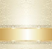 stock photo of monochromatic  - White And Gold Wedding Vintage Ivitation background - JPG