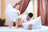 Positive Father And Son Having Fun At Home, Pillow Fight