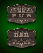 stock photo of hop-plant  - Vintage wooden signs for Pub and Bar  - JPG