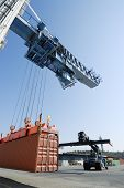 Crane And Forklift In Action