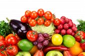 stock photo of food truck  - set of fruits and vegetables isolated on white background - JPG