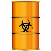 image of nuclear disaster  - Vector illustration of Orange barrel with bio hazard sign - JPG