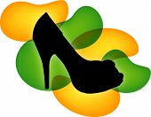 Silhouette of a stiletto on yellow and green droplets