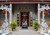 stock photo of dong  - Entrance to the Quang Dong Chinese temple in Hoi An - JPG