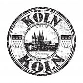 stock photo of koln  - Black grunge rubber stamp with the name of Koln the fourth largest city from Germany written inside the stamp - JPG