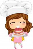 image of pastry chef  - Illustration of Cute Little Girl Baking a Cake - JPG