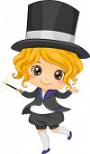 Illustration of Cute Little Girl Magician with Magic Wand