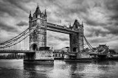 Tower Bridge in London, the UK. Black and white, artistic vintage, retro style
