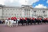 LONDON - MAY 17: British Royal guards riding on horse and perform the Changing of the Guard in Bucki