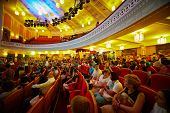 MOSCOW - AUG 3: People in Central House of culture of railwaymen before final of national competitio