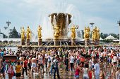 MOSCOW - AUG 4: Participants of traditional big water battle near Fountain of Nations Friendship at