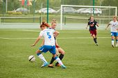 MOSCOW - AUG 23: Forward of CSP Izmailovo (Moscow) in attack in game against team Mordovochka (Saran