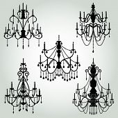 pic of chandelier  - Detailed Vector Set of Baroque Chandelier Silhouettes - JPG