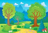 Tree theme landscape 1 - eps10 vector illustration.