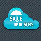 Monsoon offer and sale banner, sticker or flyer with cloud.
