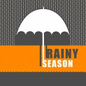 stock photo of rainy season  - Rainy season background with open umbrella - JPG