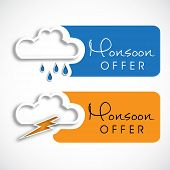 Monsoon offer and sale stickers, tags and labels with clouds.