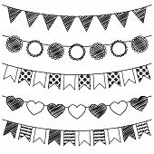 image of waving hands  - Vector Set of Hand Drawn Doodle Bunting - JPG