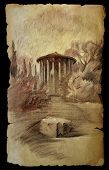 The Temple Of Vesta In Rome, Italy Paintd On Old Paper Isolated On Black.