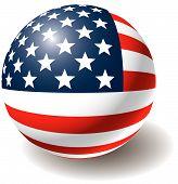 Usa Flag Texture On Ball.
