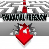 The words Financial Freedom over an arrow breaking through a maze to illustrate solving your money problems such as bills, debt, bankruptcy and insolvency to grow your wealth