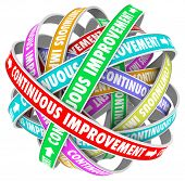 stock photo of evolve  - The words Continuous Improvement on circular ribbons in an everlasting pattern to illustrate everlasting change and innovation to better yourself - JPG