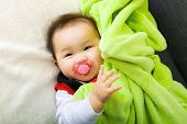 stock photo of pacifier  - Baby suck with pacifier - JPG