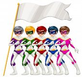 Illustration of the five superheroes and an empty banner on a white background