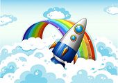 Illustration of a rocket near the rainbow