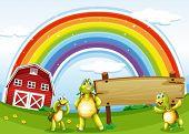 Ilustración de las tres tortugas cerca del letrero de madera y el arco iris