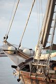 Rigging Of A Wooden Sailboat Or Yacht