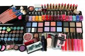 Lot of different cosmetics isolated on white