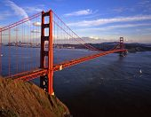 pic of golden gate bridge  - an evening image of the golden gate bridge with san francisco in the background - JPG