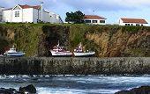 Boats On The Shore At Santa Cruz, Azores Archipelago (portugal)