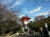 Tourists visit Koyomizu temple in Kyoto.