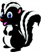 stock photo of skunks  - Vector illustration of Cute skunk cartoon isolated on white background - JPG