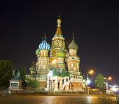 Moscow, St. Basil's Cathedral At Night